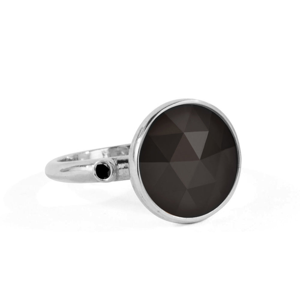 WD109-O, 14kt gold 13mm rose cut black onyx with .06ct black diamond sides ring