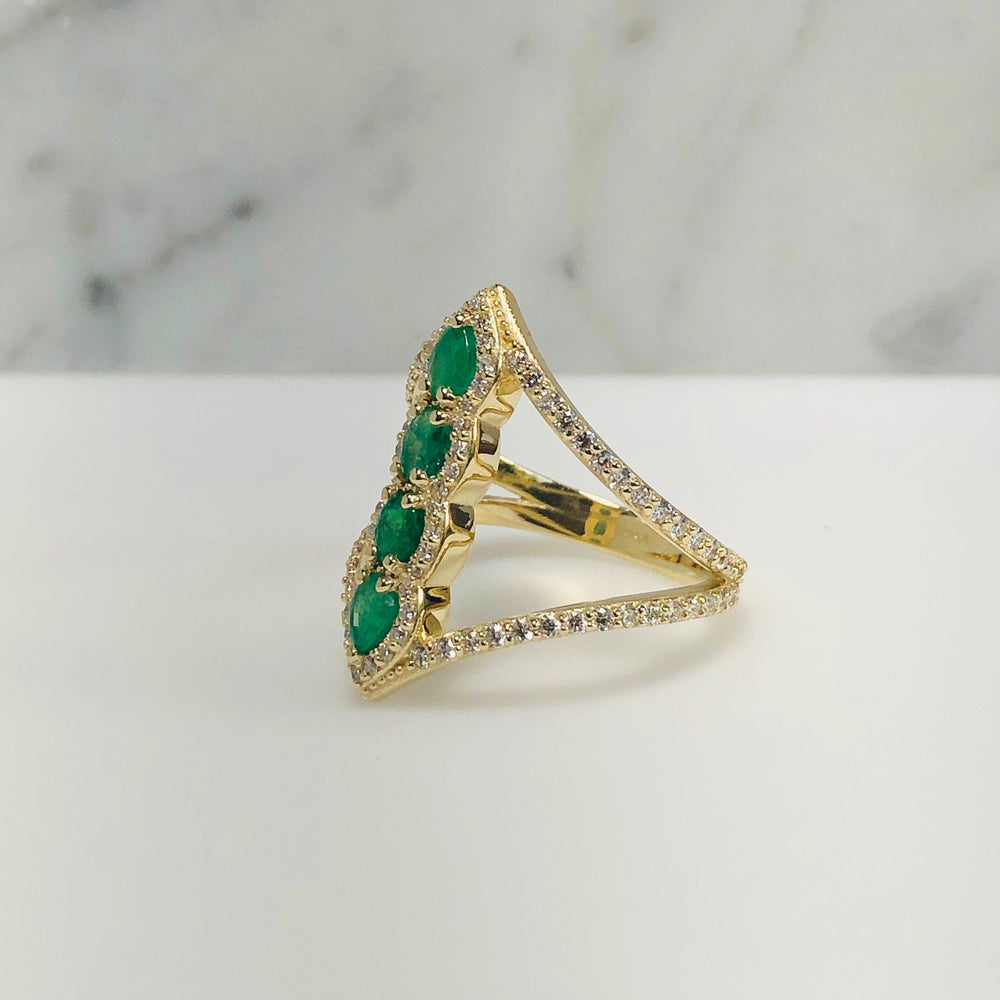 WD644  - Stacked Emerald Ring