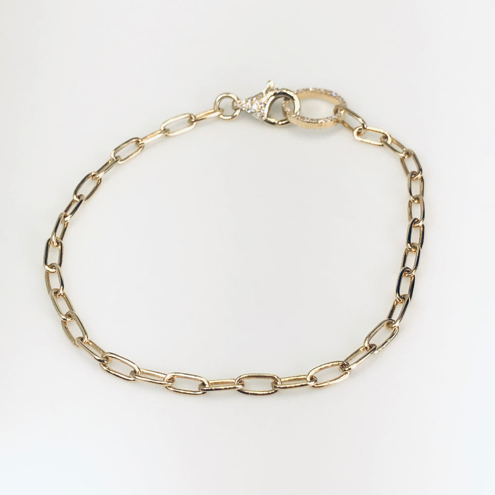 WD677 14kt Open Linked bracelet with Pave Detail on Clasp and Ring