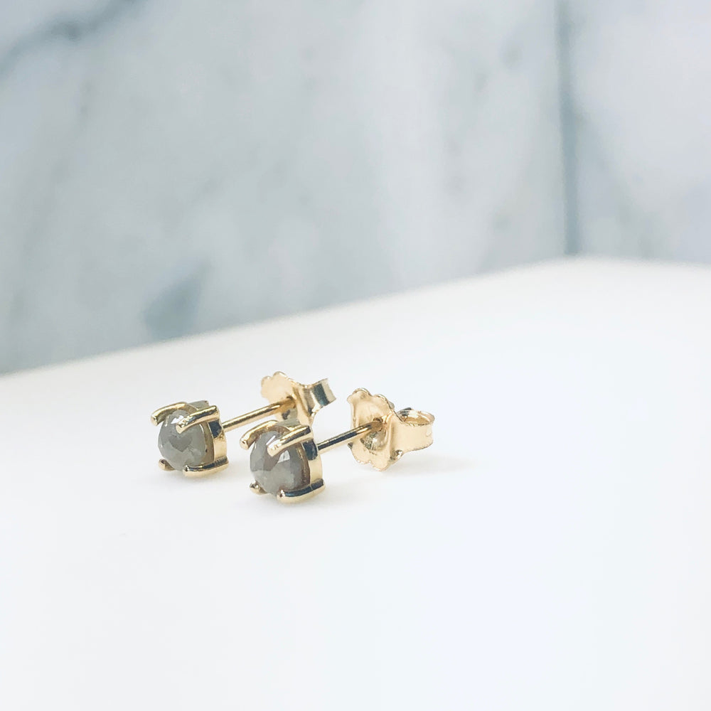 WD357 - Raw Rose Cut Diamond Studs