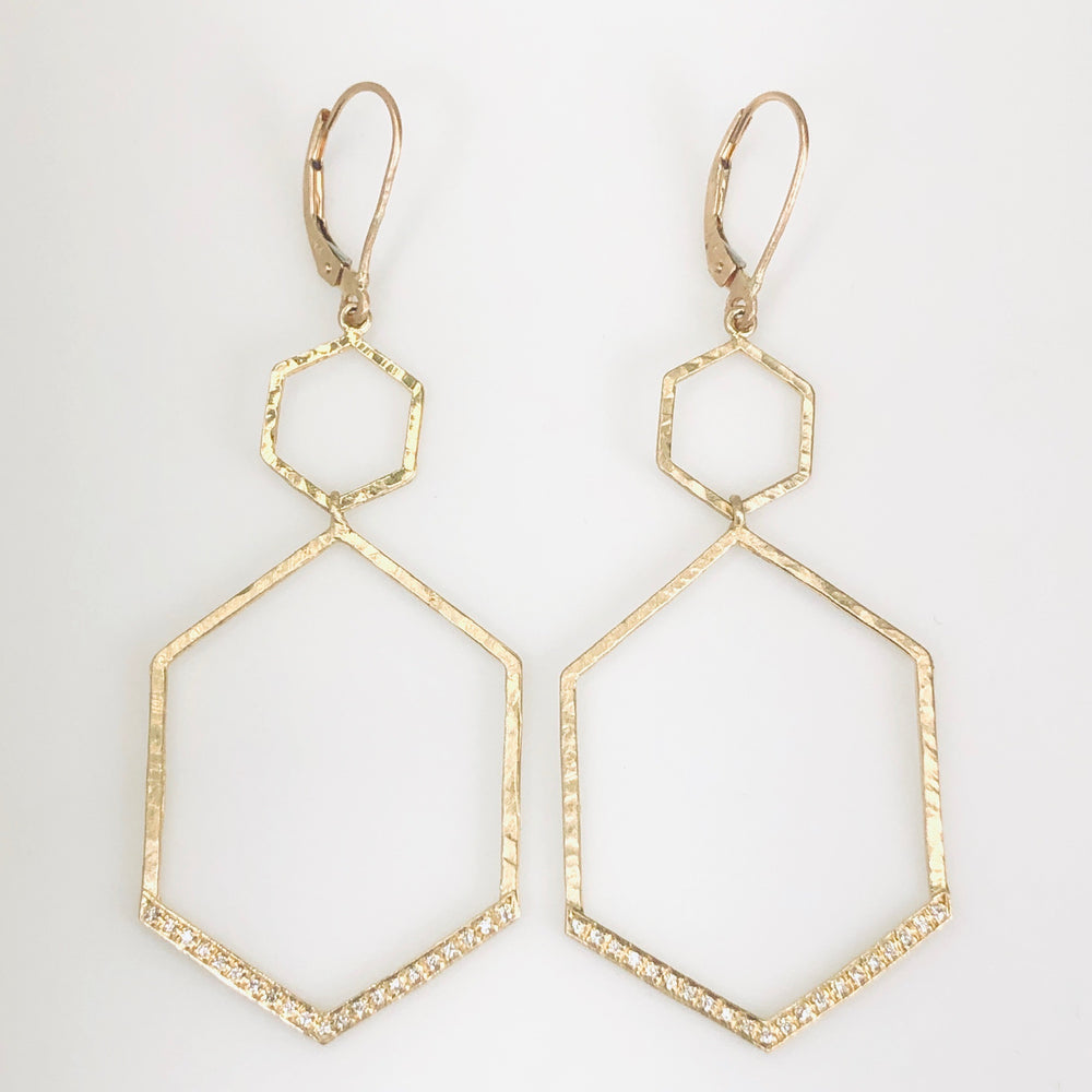 WD597 - Pave Double Hexagon Drop Earrings