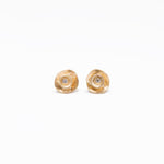 WD42, 14kt gold, full large Rose flower diamond center stud earrings