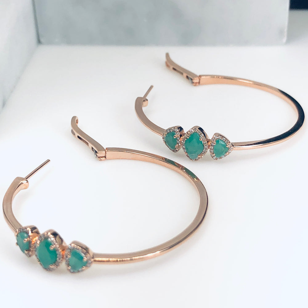 WD649 - 40mm Emerald and Diamond Hoops