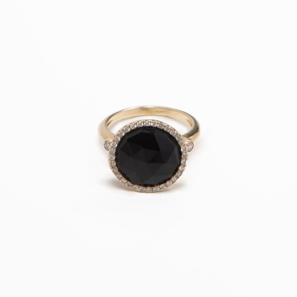 WD109-O, 14kt gold black onyx with white halo ring