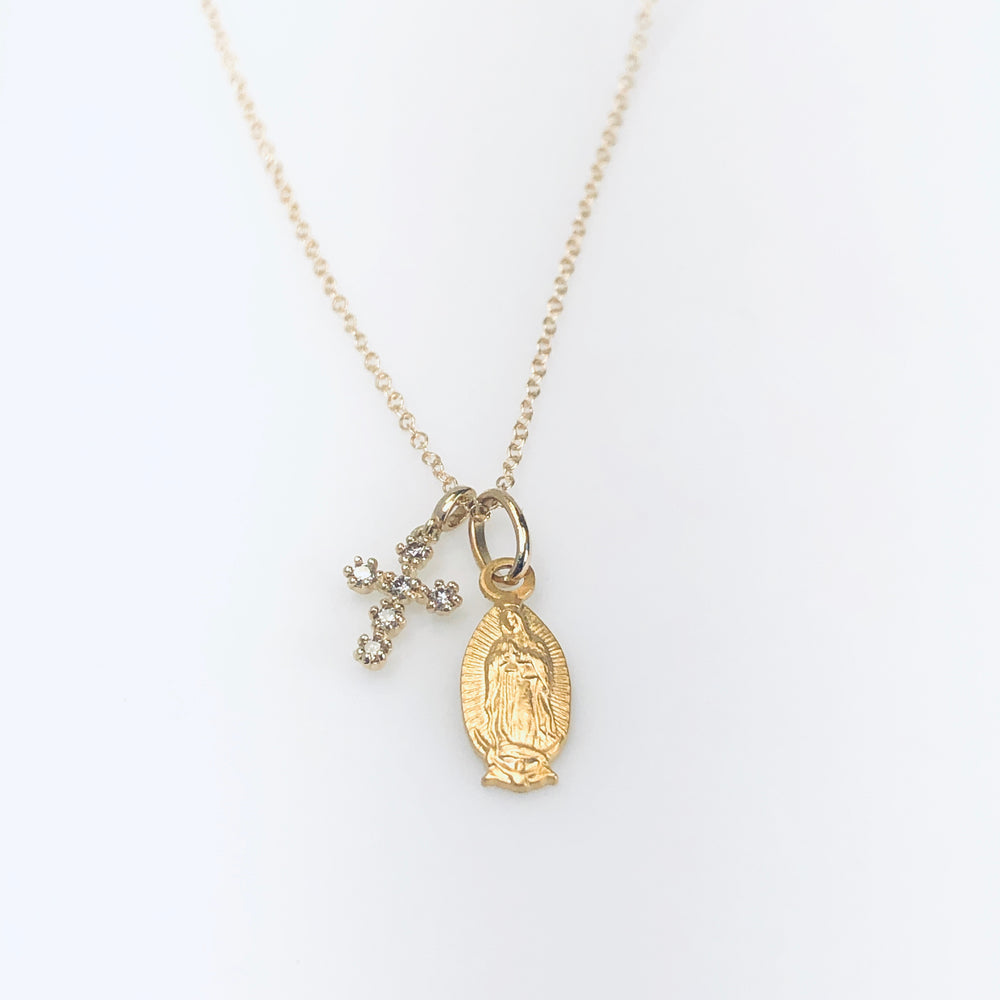 WD584 Cross and Virgin Mary Metal Necklace