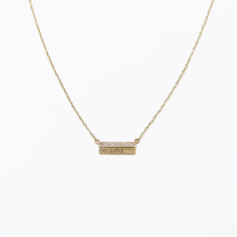 Buildon01, 14kt gold, 18in chain w loop at 16in, 2 bars one with pave one with laser or plain necklace