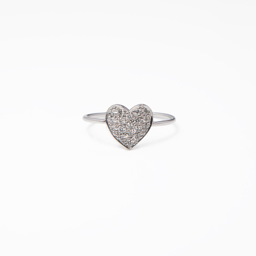 WD473, 14kt gold large size pave heart  with .20ct pave diamond ring