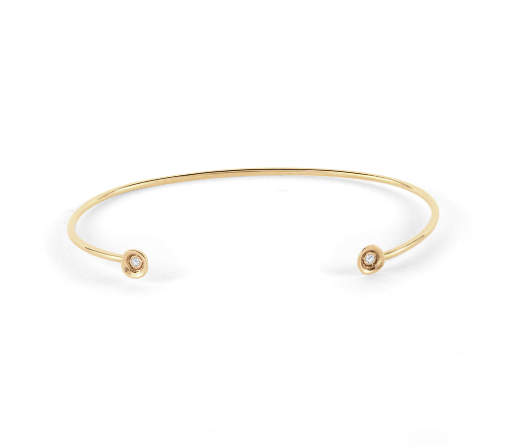 14kt gold rose bud with diamond cuff