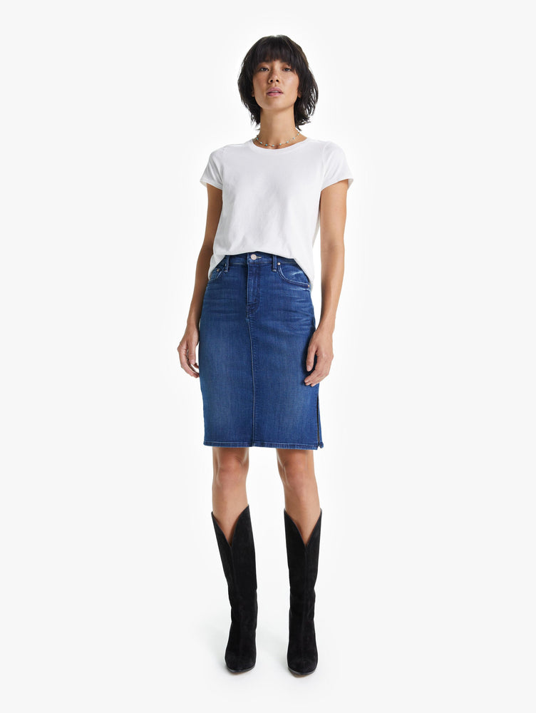 9486-781 MOTHER High Wasited Sliced Knee Skirt