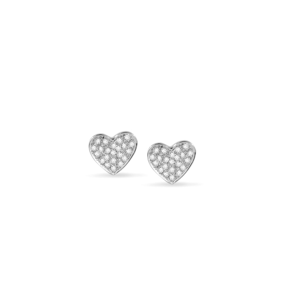 WD87, 14kt gold, pave diamond Small heart stud earrings