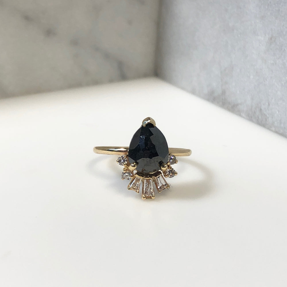 WD589 - 2.17 Pear Shaped Rose Cut Black Diamond Ring