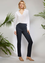 1291PR - ECRU Springfield Pull On Pant in Window pane print.
