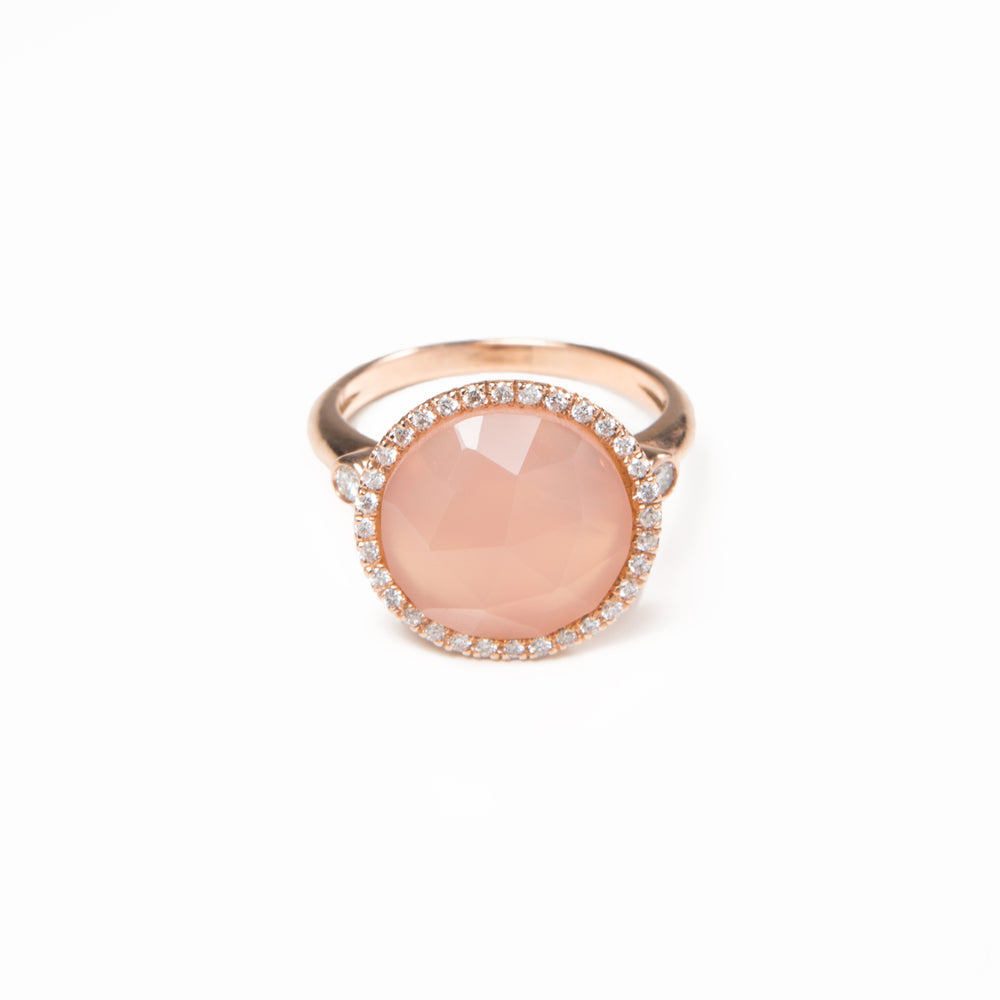 WD115-RQ 13mm Rose Quartz with Pave Diamond Halo Ring