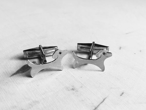 Sterling Thrive Dog Cufflinks