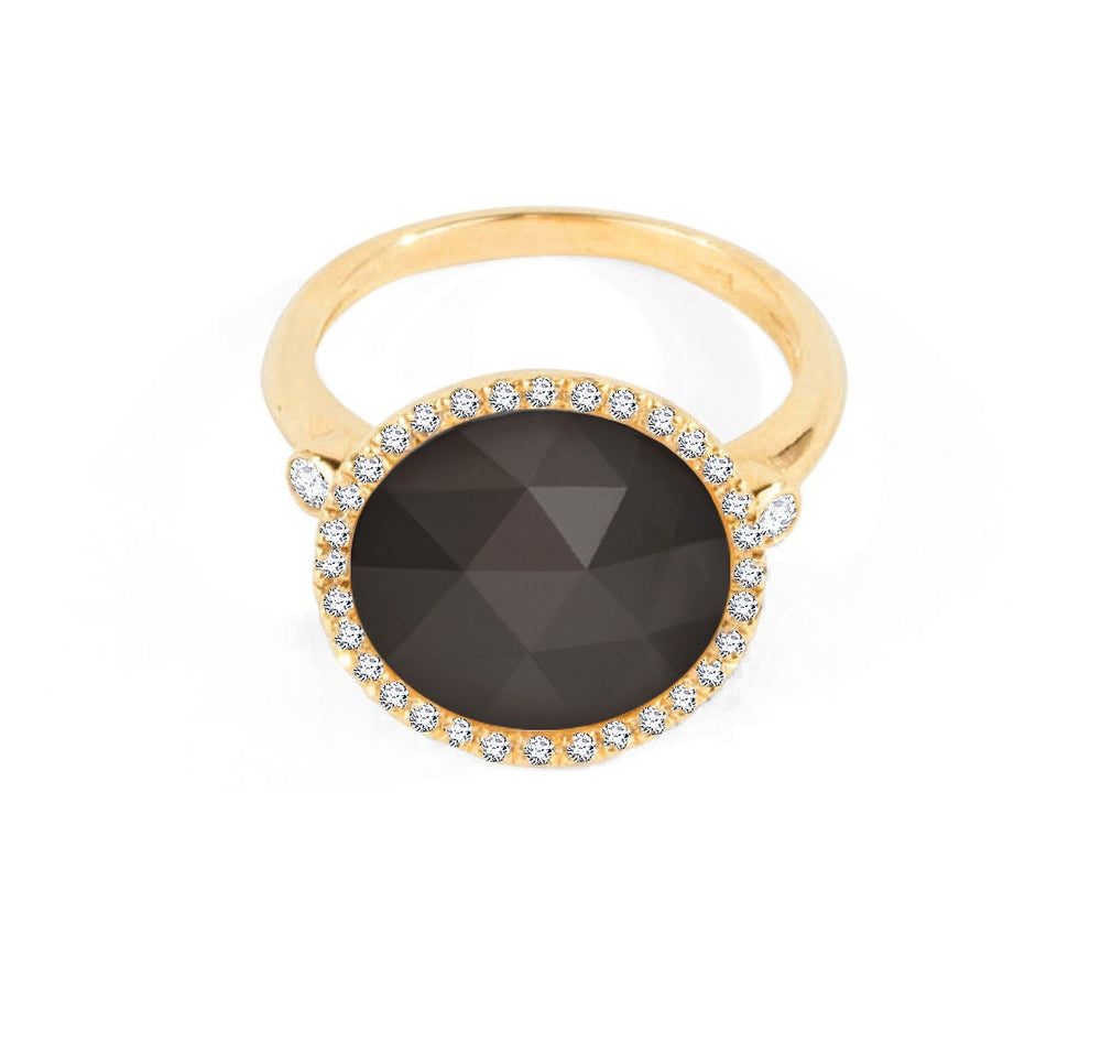 Black Onyx Halo Ring