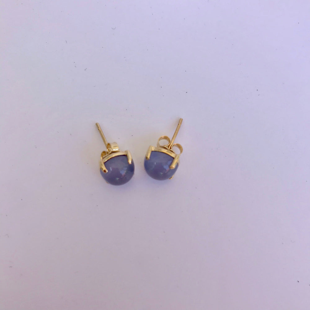 Cabochon Chalcedony Stud Earrings