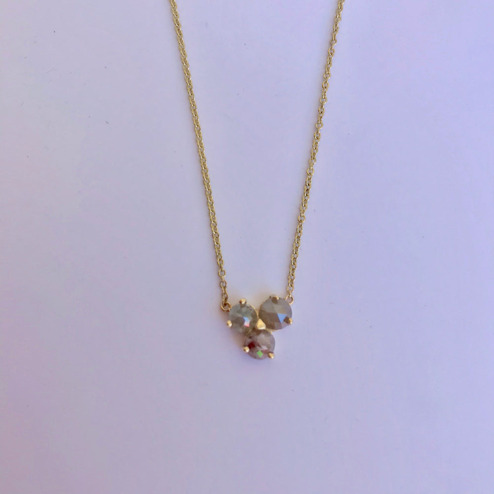 Rose Cut Raw 3 Diamond Necklace