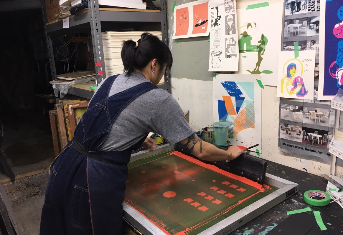 Toronto-based screen printer and illustrator Stephanie Cheng in action at her studio