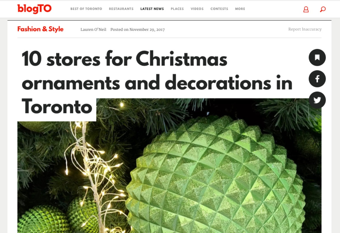 Screenshot of holiday decor press article by BlogTO featuring Scout Roncesvalles