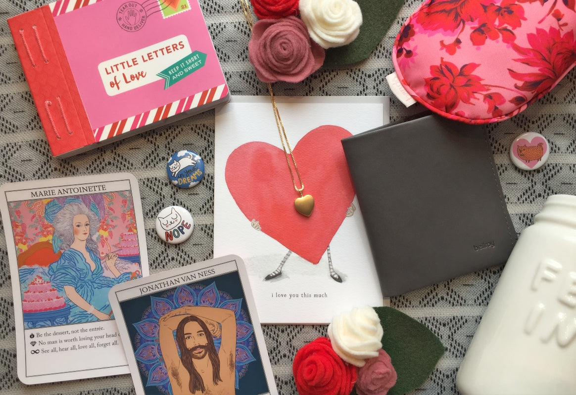 Flat lay of Valentine's Day gift ideas for everyone on your list, available at Scout in Toronto or online