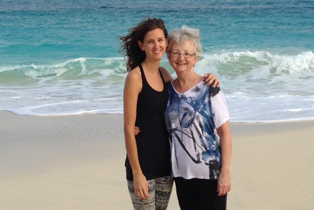 Scout store owner Leah on the beach in the Bahamas with her mom during their five-day yoga retreat