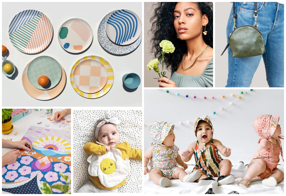 Collage featuring some popular spring arrivals available at Scout online, an independent retailer headquartered in Toronto Canada