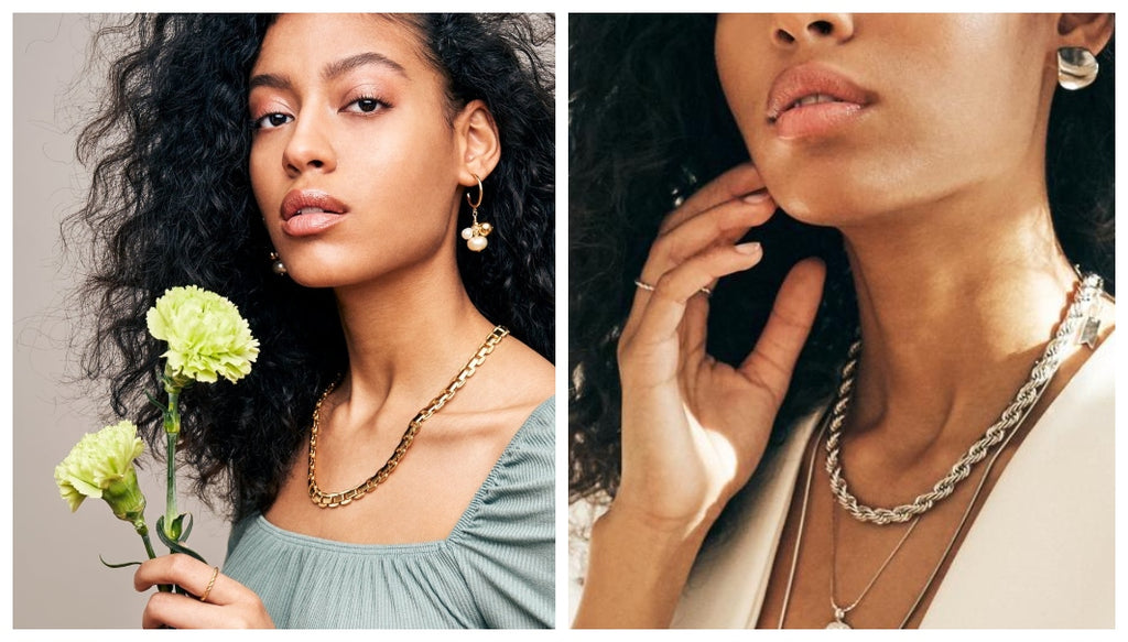 A young black woman models the Magnolia and Helix chain collar necklaces by Biko