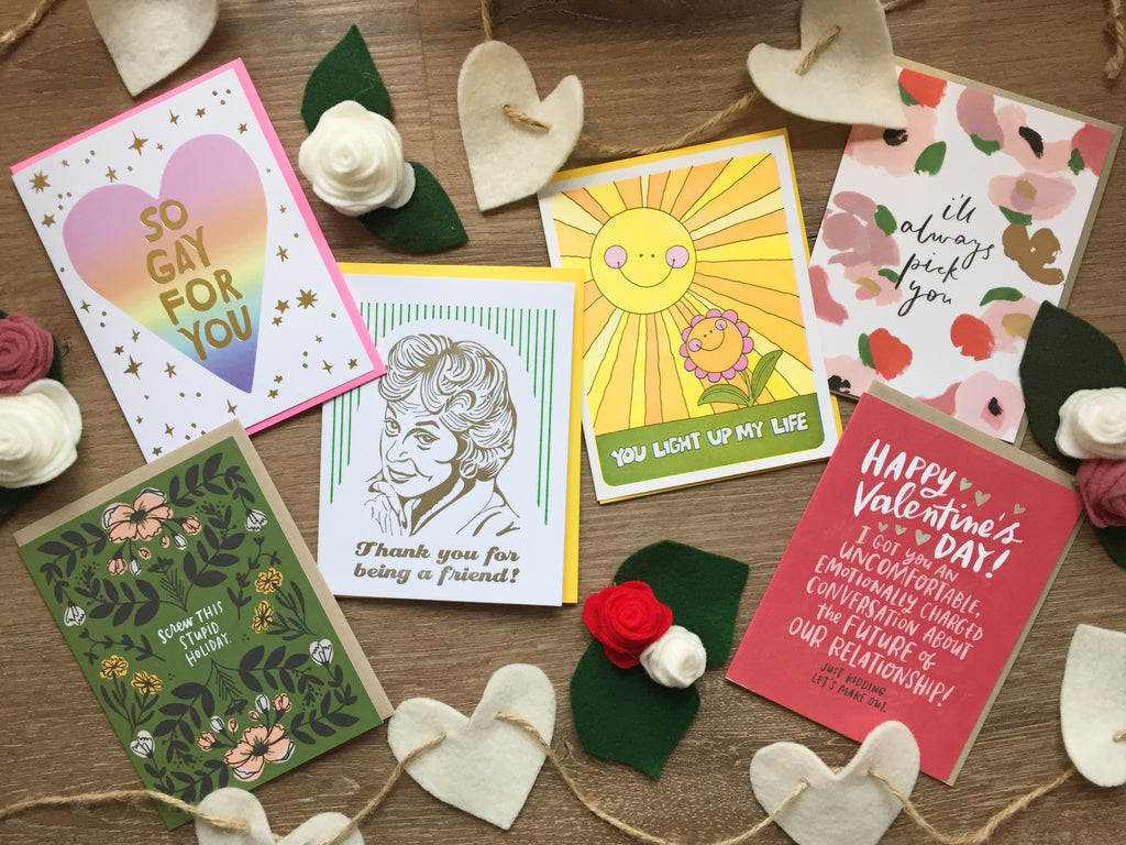 Flat lay of a selection of Valentine's Day cards available at Scout in Toronto