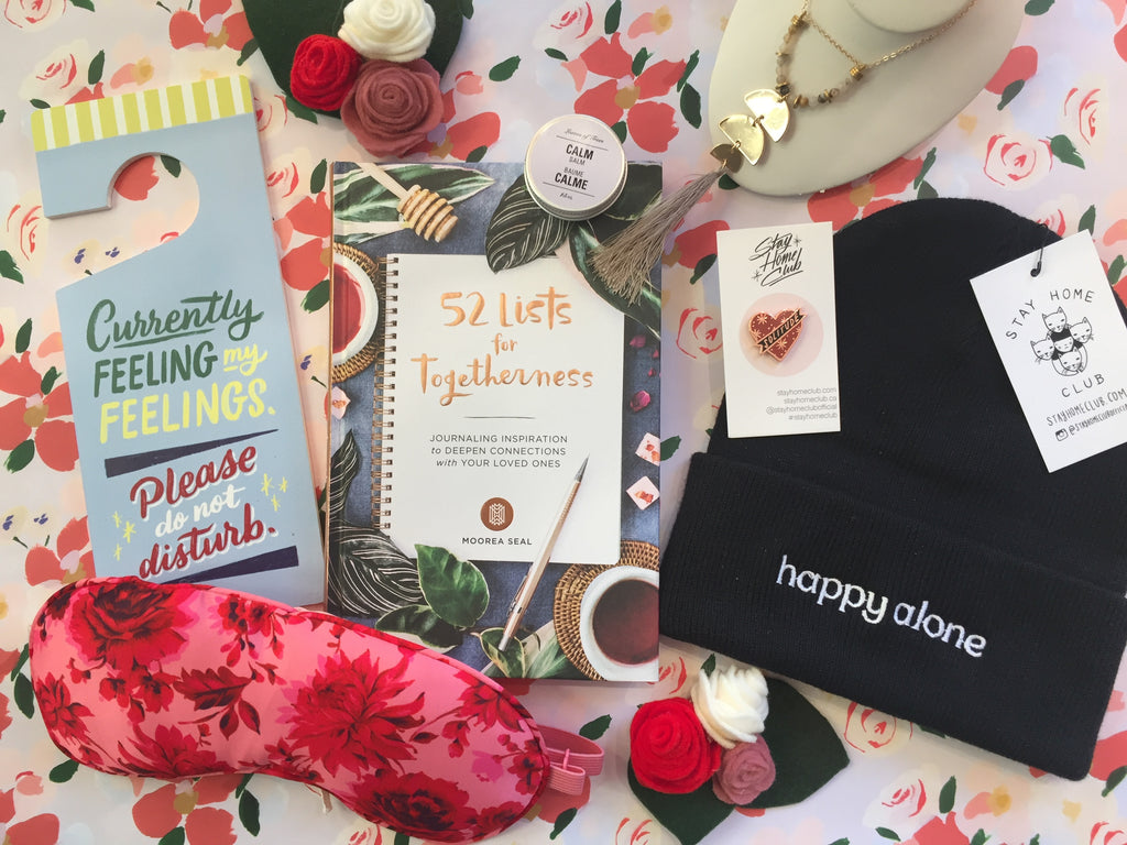 Flat lay of gift ideas to give yourself this Valentine's Day