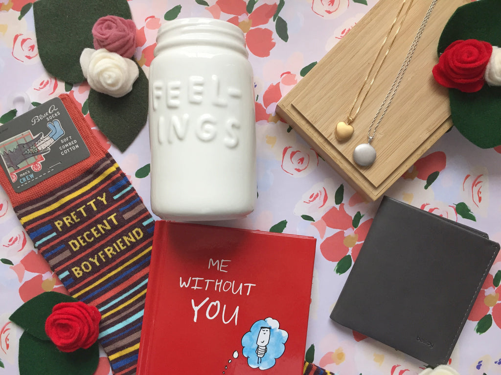 Flat lay of gift ideas for Valentine's Day for your partner