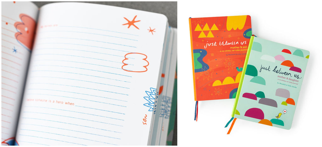 Just Between Us journal lies open to a page with blue and orange doodles while two lay on a white background showing off the brightly coloured covers