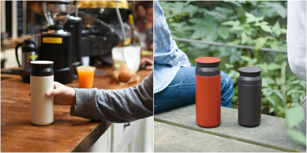 Collage of two photos stitched together, one a hand reaching out onto a coffee bar to grab a white travel tumbler and the other a photo of two kinto travel tumblers on a bench with two people sitting on either side and greenery in the background