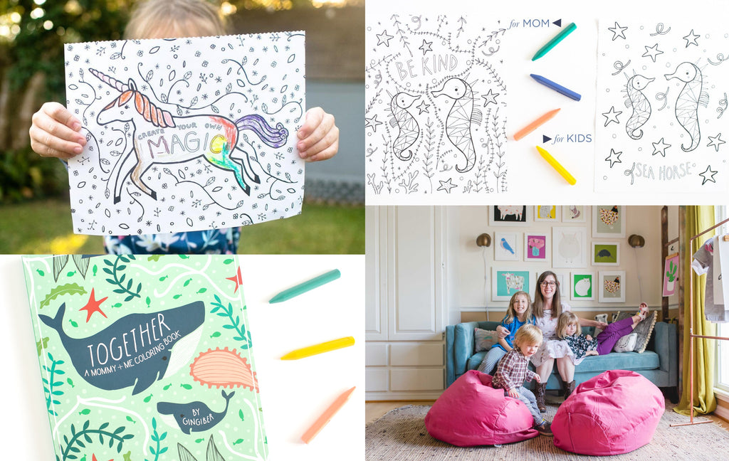 Collage of images of the Mommy and Me colouring book cover, colouring pages, and the maker, Stacie, with their children