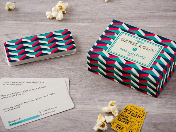 Wild and Wolf's Pop Culture Quiz Game set out to play with popcorn snacks