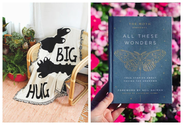 Calhoun and Co blanket sits on a wicker chair to the left while The Moth short stories book stands out on a background of red and pink blooms to the right