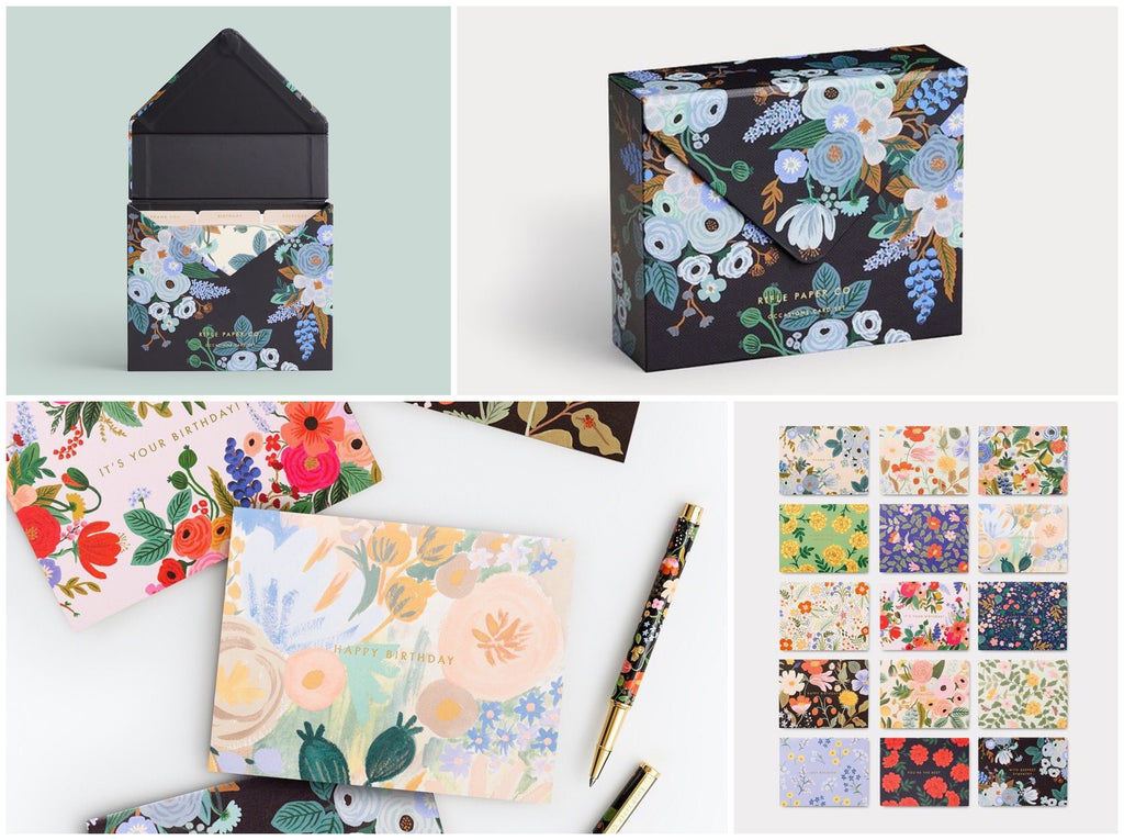 Product photos and flat lays of Rifle Paper Co's Essentials Florals Boxed Cards Set