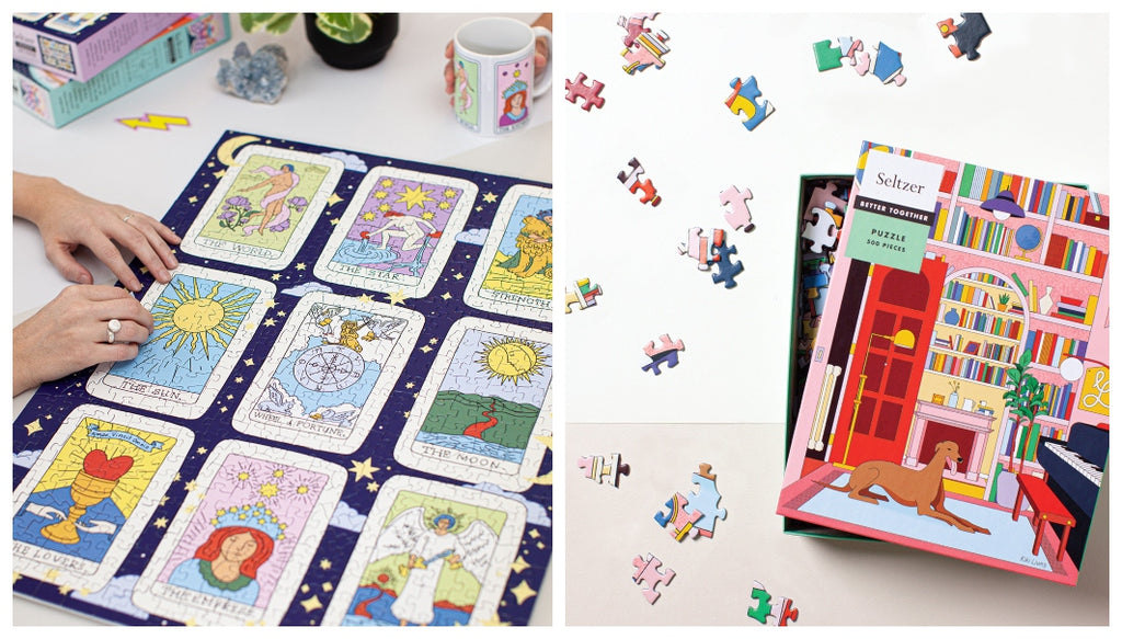 Two hands work on a Tarot Card puzzle on the left while an open puzzle box sits on a white background on the right with colourful puzzle pieces strewn about