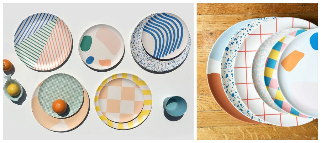 Flat lay of Xenia Taler patterned plats lay on the left with the array of colourful patterned plates available at Scout are displayed on the right