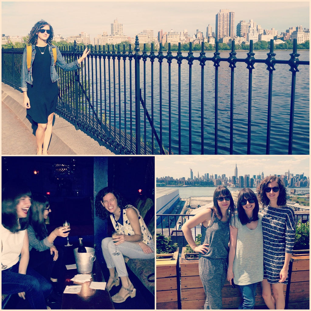 A photo collage of founder Leah on trips to New York City with her friends.