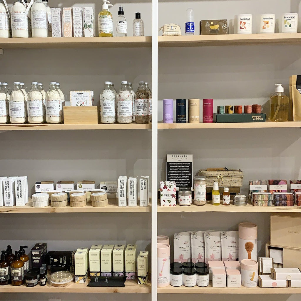 Scout's shelves stocked with handmade goods from local artisan makers.