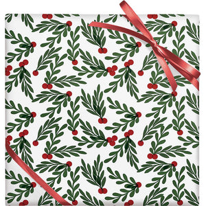 Holly Red Berries Stone Gift Wrap Roll