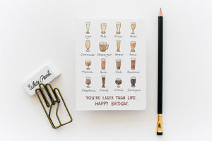 Lager Than Life Birthday Card