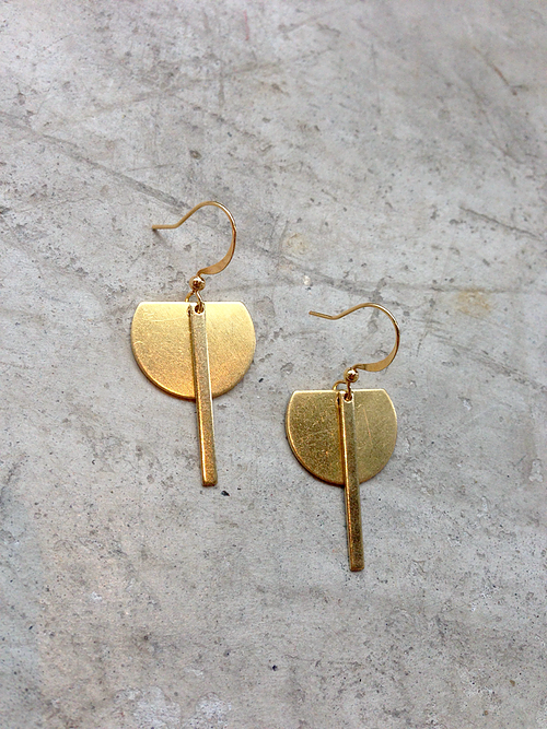 Brass Crescent + Stick Earrings