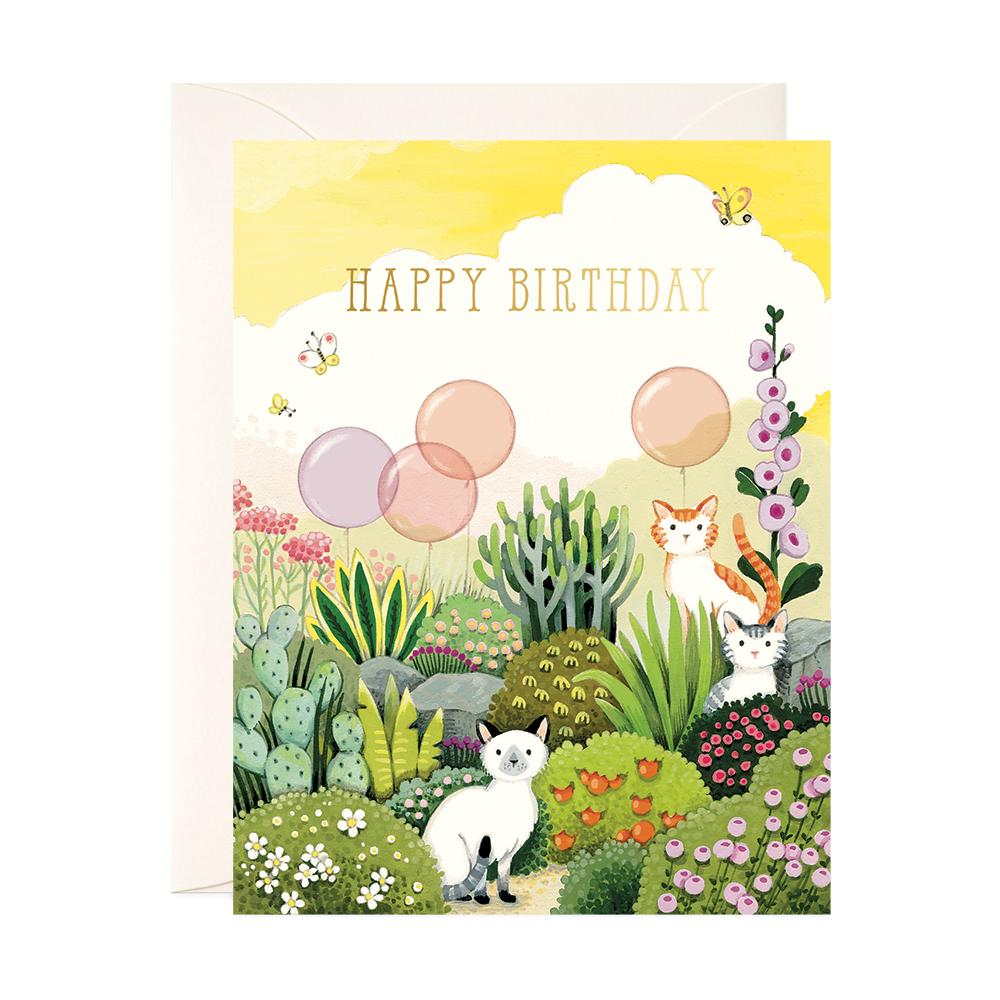 Cats In Garden Birthday Card