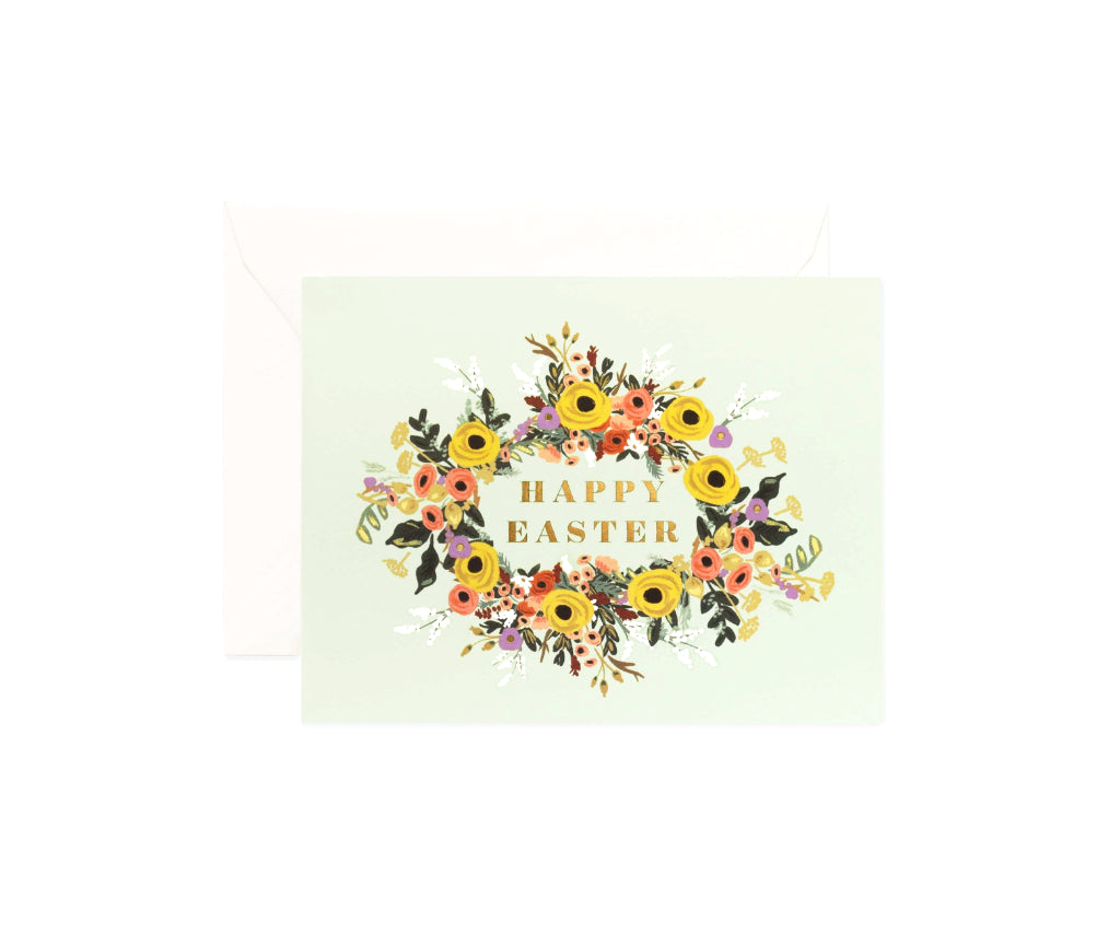 Mint Floral Easter Card