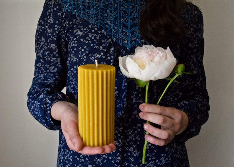 Fluted Beeswax Pillar