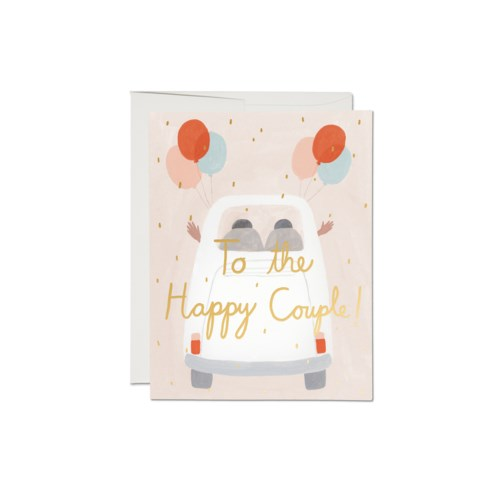 Happy Couple White Car Card