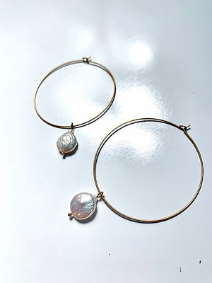 Pearl on Brass Hoop