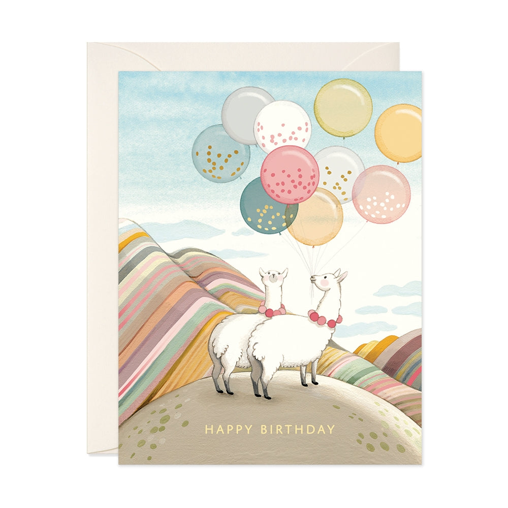 Llamas + Balloons Birthday Card