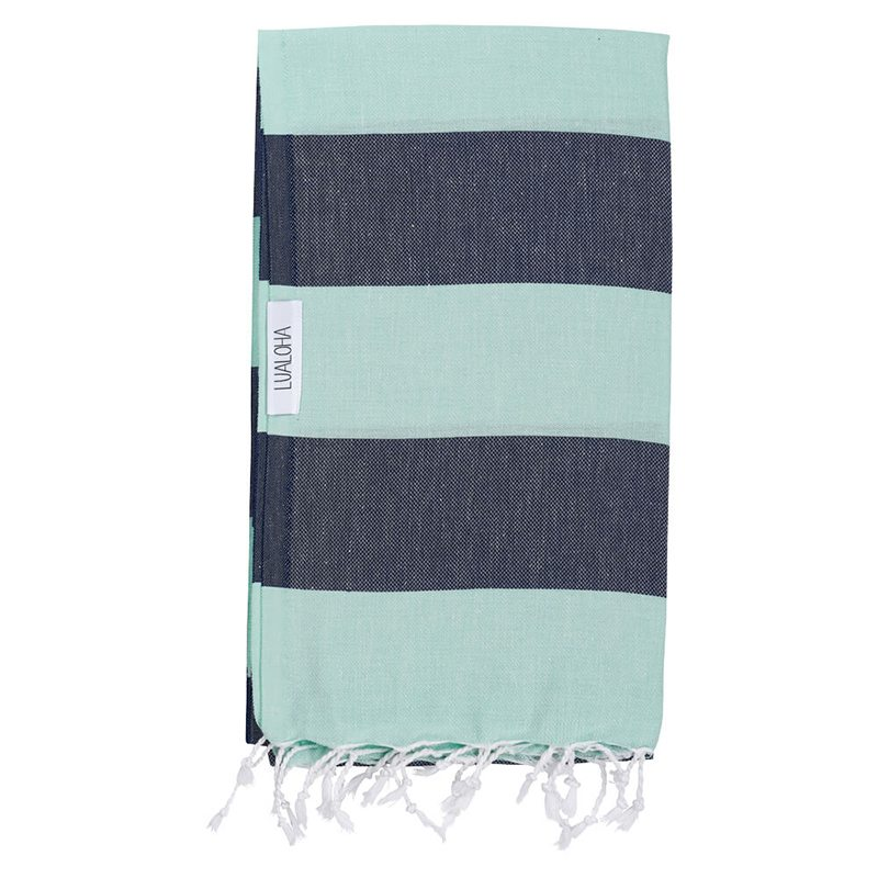 Mint + Navy Turkish Towel